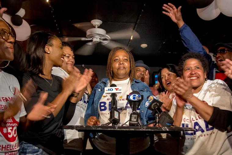 Rochelle Bilal is surrounded by supporters as she wins  the Democratic primary for sheriff May 21, 2019.