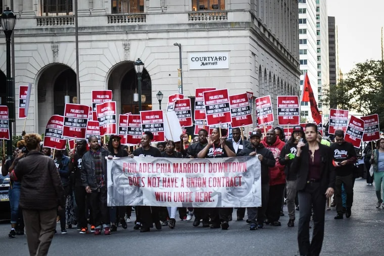 On the evening of Friday October 12, 2018 Marriott workers gathered outside the back entrance of the hotel on 13th and Filbert Streets to raise attention for their bid to unionize. Mayor Kenney and Gov. Wolf both came to speak at the occasion.