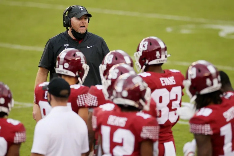 Temple head coach Rod Carey talks to his players during a game against East Carolina at Lincoln Financial Field in South Philadelphia on Saturday, Nov. 21, 2020.