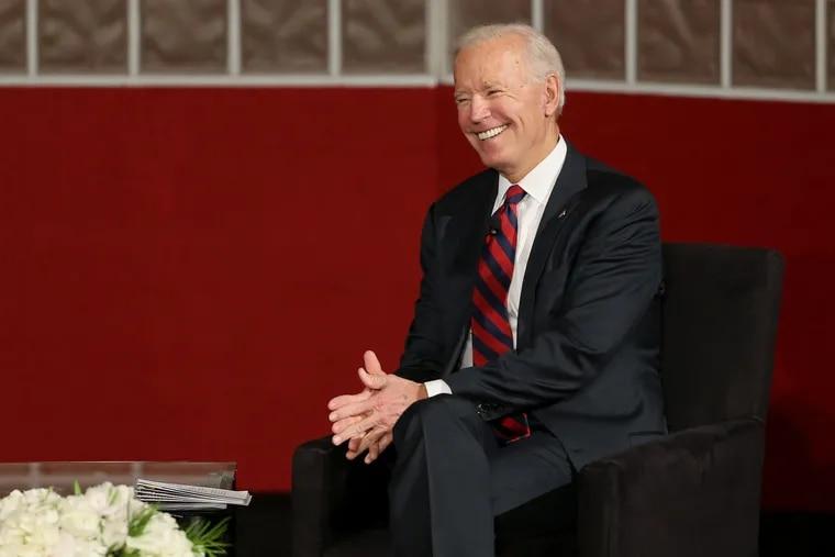 Former Vice President Joe Biden speaks at the University of Pennsylvania on Feb. 19.