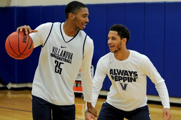 Villanova freshman Mikal Bridges (left), on practice court with Josh Hart, has played a key role on this season's team.