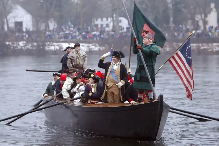 On Christmas afternoon, reenactors swarm the banks of the Delaware to recreate George Washington's daring Christmas night river crossing in 1776.