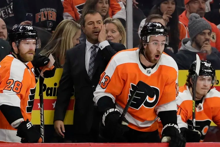 Flyers Head Coach Alain Vigneault, shown here in a game earlier in the season, says the three-game suspension given to Joel Farabee was unwarranted.