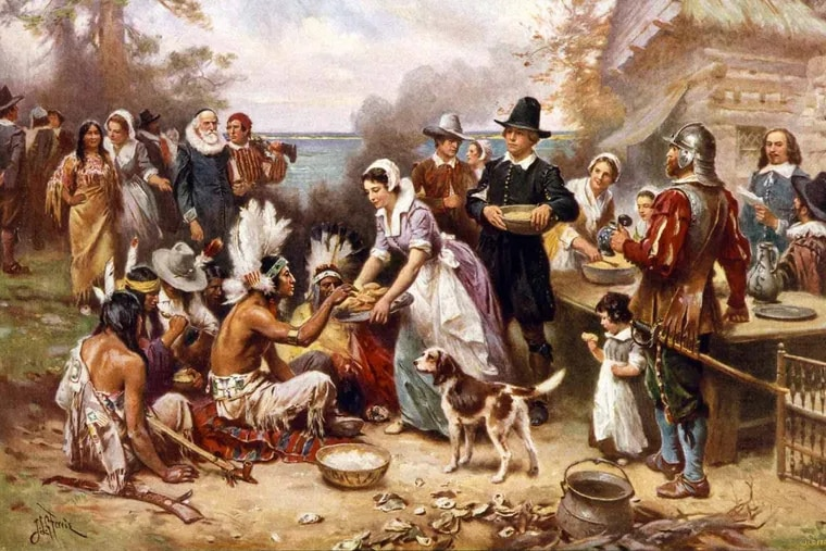 """Jean Leon Gerome Ferris: """"The First Thanksgiving 1621"""" (1932)"""