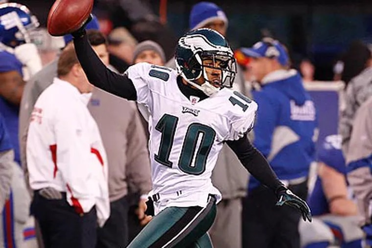"""""""I try to do something out of the ordinary,"""" DeSean Jackson said of his flashy touchdown celebrations. (Ron Cortes/Staff Photographer)"""