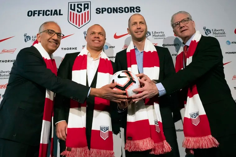 From left to right: U.S. Soccer Federation president Carlos Cordeiro, men's national team general manager Earnie Stewart, new men's national team head coach Gregg Berhalter, and CEO Dan Flynn.