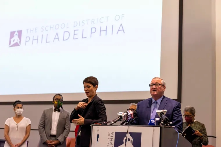 Mayor Jim Kenney speaks during a press conference on Philadelphia Superintendent William R. Hite Jr. who will be leaving at the end of the year at the Philadelphia School District Headquarters in Philadelphia, Pa., on Tuesday, Sept. 28, 2021.