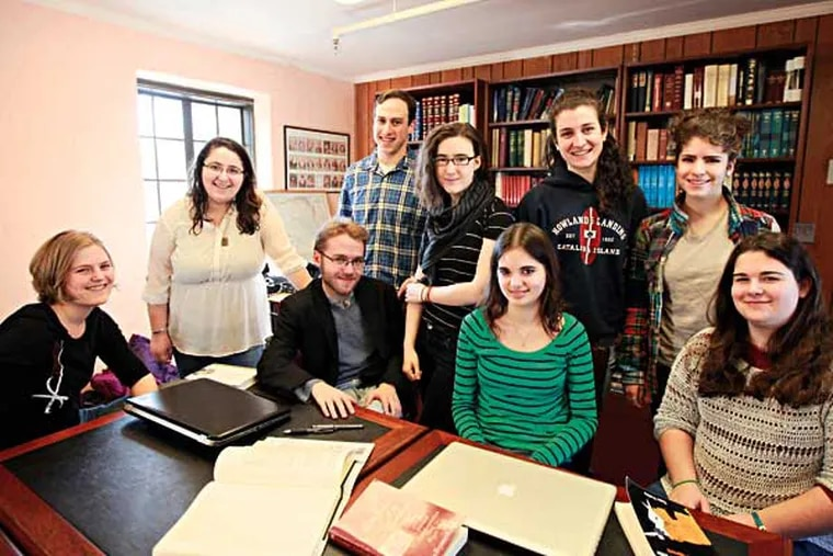 """Swarthmore students ( L - R ) Amelia Dornbush, 20, Marissa Cohen, 18, Joshua Wolfsun, 20, Jacob Adembaum, 21, Hanna Kipnis-King, 20, Sarah Revez, 19, Rachel Flaherman, 19, Leela Breitman, 18, and Anna Bigney, 18, gather in the Beit - Midrash, or house of Study in Bond Hall. Swarthmore College's Hillel has become the first in the nation to adopt an """"open"""" policy, meaning they will talk to and partner with organizations that are perceived as anti-Isreal. They say they want to open debate. The national organization has come down hard, saying it will not tolerate any break from their policy forbidding ties with anyone that is not 100 percent, pro-Isreal, Friday December 13, 2013. ( DAVID SWANSON / Staff Photographer )"""