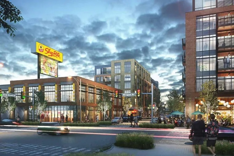 Artist's rendering of South Philadelphia Shopping Center at 23rd Street and Oregon Avenue after redevelopment into part of a mixed-use project to be called South Quarter Plaza.