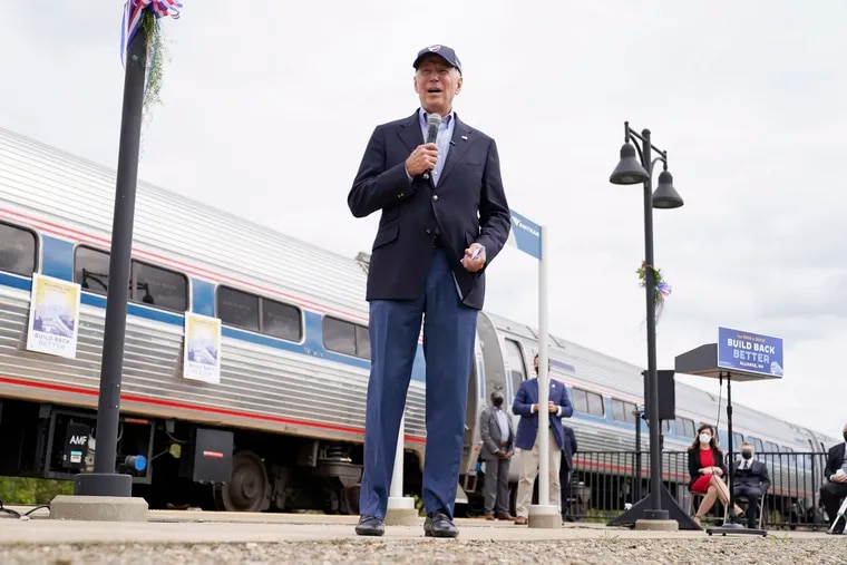 Joe Biden speaks at Amtrak's Alliance Train Station in Alliance, Ohio, during a September campaign stop.