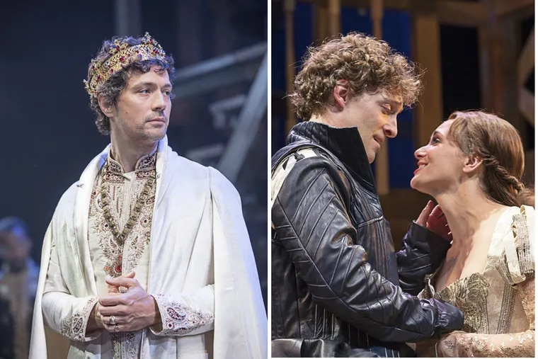 """Left: Christian Coulson in the title role of """"Richard II,"""" through Aug. 5 at the Pennsylvania Shakespeare Festival; Right: Luigi Sottile and Mairin Lee in """"Shakespeare in Love,"""" also through Aug. 5."""