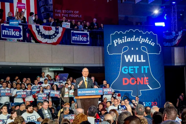 Democratic presidential candidate Mike Bloomberg during a rally at the National Constitution Center in Philadelphia on Feb. 4, 2020.