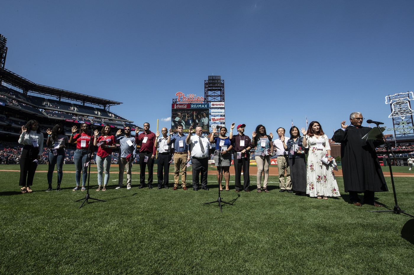 They went to a Phillies game for another American tradition: Becoming U.S. citizens