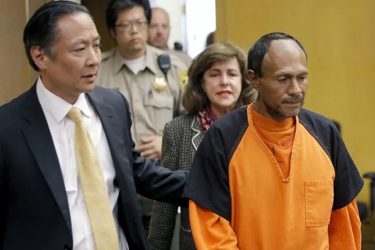 Jose Ines Garcia Zarate, right, is led into the courtroom by San Francisco Public Defender Jeff Adachi, left, and Assistant District Attorney Diana Garciaor, center, for his 2015 arraignment at the Hall of Justice in San Francisco. Garcia Zarate was cleared of Kate Steinle's murder last week but convicted on a lesser charge.