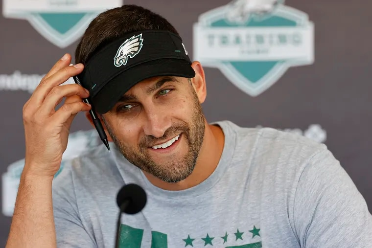 Eagles Head Coach Nick Sirianni smiles while addressing the media before the start of training camp at the NovaCare Complex on Saturday, July 31, 2021.
