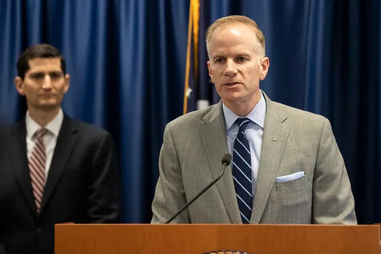 U.S. Attorney for the Eastern District of Pennsylvania William M. McSwain speaks during a news conference to announce a lawsuit aimed at blocking opening of supervised injection sites in Philadelphia.