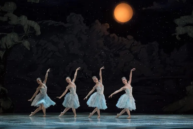 """The delicate snow scene from this year's """"Nutcracker,"""" danced to Tchaikovsky's """"Waltz of the Snowflakes.""""  Now picture it with a wayward mouse scampering through."""