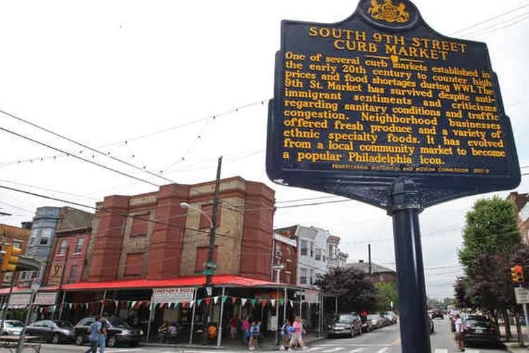 """This marker at Ninth and Christian Streets, which does not include the word """"Italian,"""" is a replacement for one that was pulled down soon after its dedication. The signs come in two sizes, one costing about $1,400 and the other about $1,850."""
