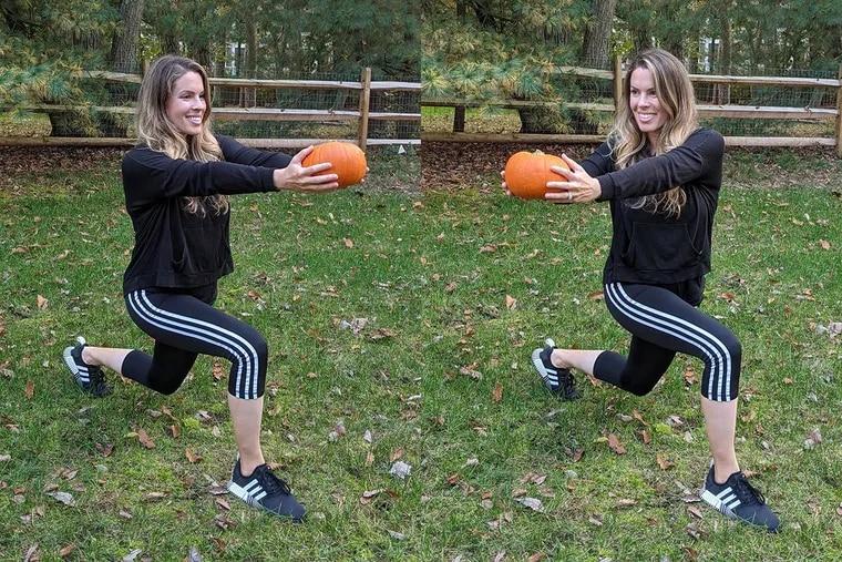 Ashley demonstrates a reverse lunge twist using a pumpkin.