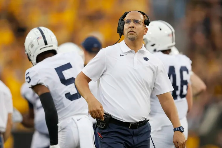 Penn State coach James Franklin looks at the scoreboard during the second half of the loss at Iowa.