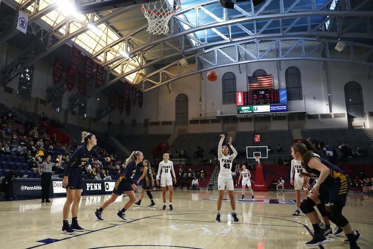 Penn freshman Guard Kayla Padilla (45) shoots a free throw during the first half of the of the Quakers' 53-49 win over Drexel on Friday.