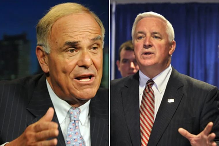 The administration of Gov. Rendell (left) has prepared files to smooth the transition for Republican Gov.-elect Tom Corbett (right). (File Photos)