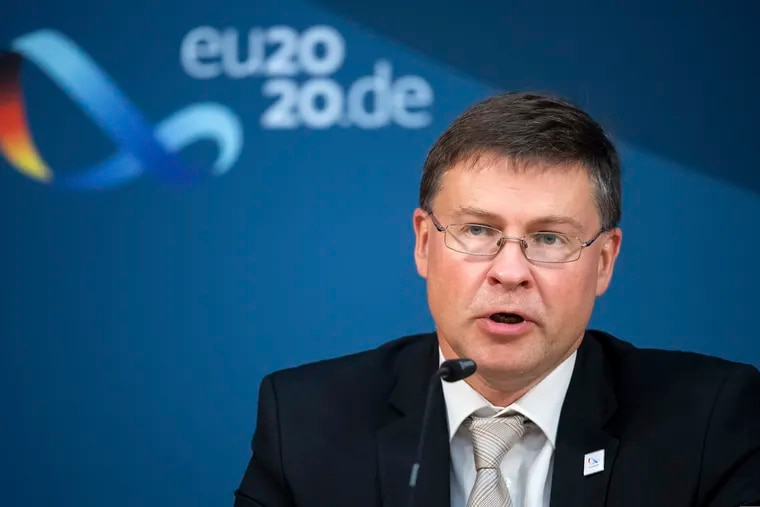 Valdis Dombrovskis, vice president of the EU Commission, shown speaking at a news conference last month.