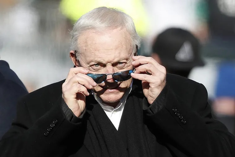 Cowboys owner Jerry Jones, checking out the field before the Eagles played the Cowboys in January, is going into the Pro Football Hall.