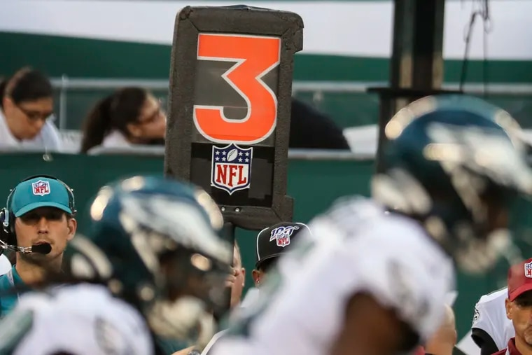 The third-down marker is photographed at MetLife Stadium in East Rutherford, N.J., during the Eagles and Jets 2019 preseason game. The preseason and regular season are set to change thanks to a new schedule approved by NFL owners on March 30, 2021.