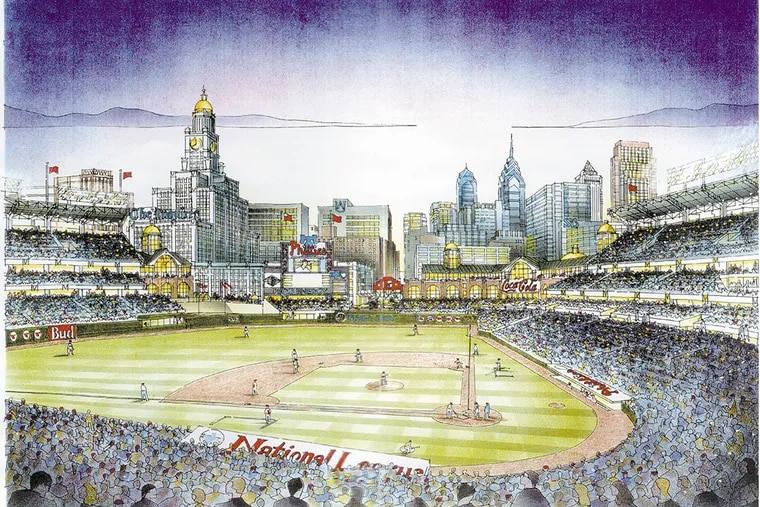 Rendering of a proposed Phillies ballpark at the corner of Broad and Spring Garden streets in Center City.