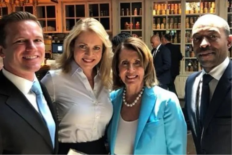 Nancy Pelosi, Minority Leader of the U.S. House, is pictured with Local 98 attorney Jack O'Neill (left), Local 98 political director Marita Crawford (second from left) and consultant Billy Miller (right).