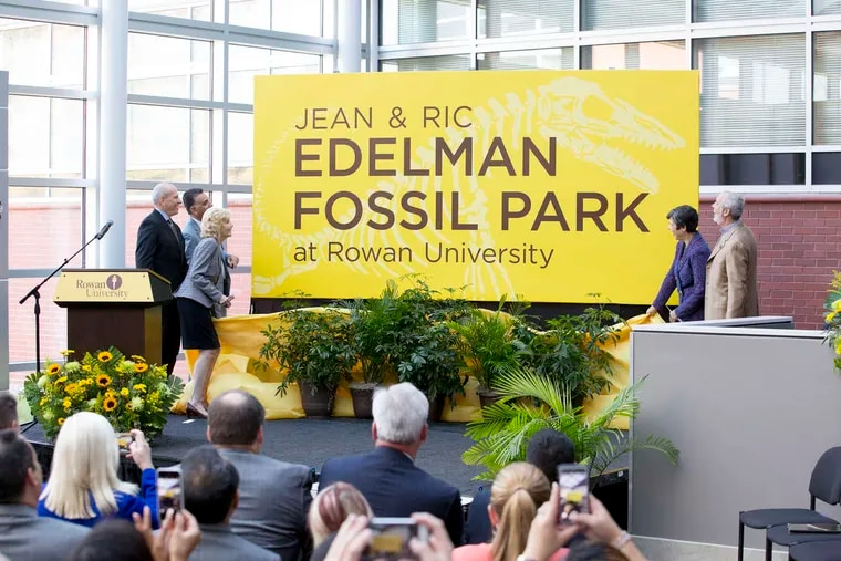 """Rowan University announces the donation of $25 million dollars by Ric and Jean Edelman, far right,  to build a museum and visitor center at its """"fossil park"""", Monday, Oct. 17, 2016 in Glassboro, New Jersey."""