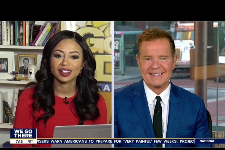 """Fox29 """"Good Day Philadelphia"""" anchors Alex Holley (left) and Mike Jerrick on Thursday morning, the third day Holley was working from her apartment, with Jerrick in the studio."""