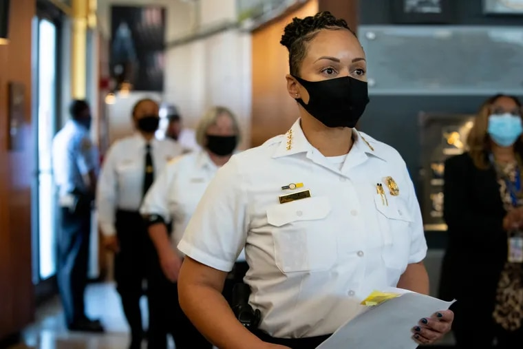 Philadelphia Police Commissioner Danielle Outlaw arrives for a news conference about the increased number of shootings in the city at the Police Administration Building in October.