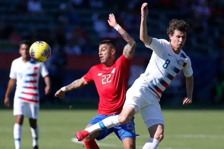 Medford-born Union midfielder Brenden Aaronson (right) made his senior U.S. men's national team debut against Costa Rica.