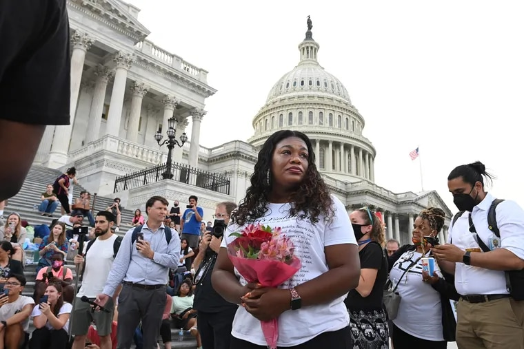 Rep. Cori Bush (D., Mo.) reacts to news that the Biden administration extended a partial moratorium on evictions on Aug. 3.