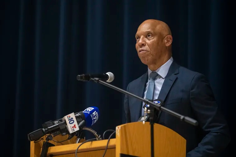 William R. Hite, Jr., Superintendent of School District of Philadelphia, speaks in front of press on the upcoming school year in Philadelphia at the Benjamin Franklin High School, on Friday, July 30, 2021.