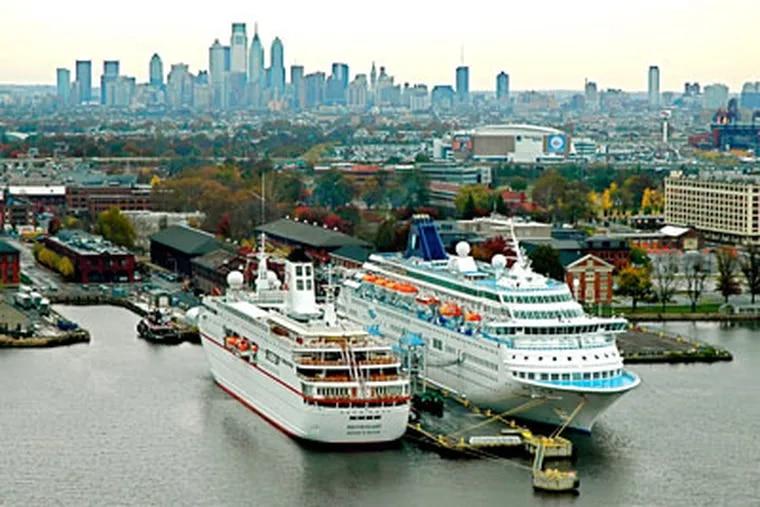 The Philadelphia Cruise terminal hosted both the Peter Deilmann Cruise Line's MS Deutschland (left) and the Norwegian Cruise Line's Norwegian Majesty in October. (Delaware River Port Authority)