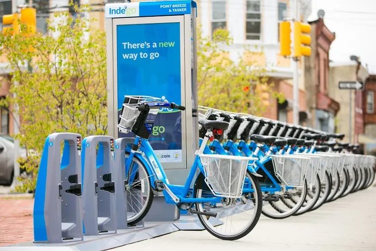 The Indego bike docking station in Point Breeze. (Photo by Lora Reehling for the Bicycle Coalition of Greater Philadelphia)