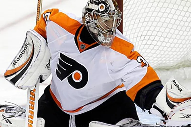 Sergei Bobrovsky's performance was vital to the Flyers' win over the Penguins on Thursday night in Pittsburgh. (Gene J. Puskar/AP)