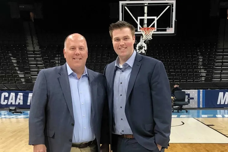 Tom McCarthy (left) and his son, Patrick, at the 2019 NCAA Tournament in Jacksonville.