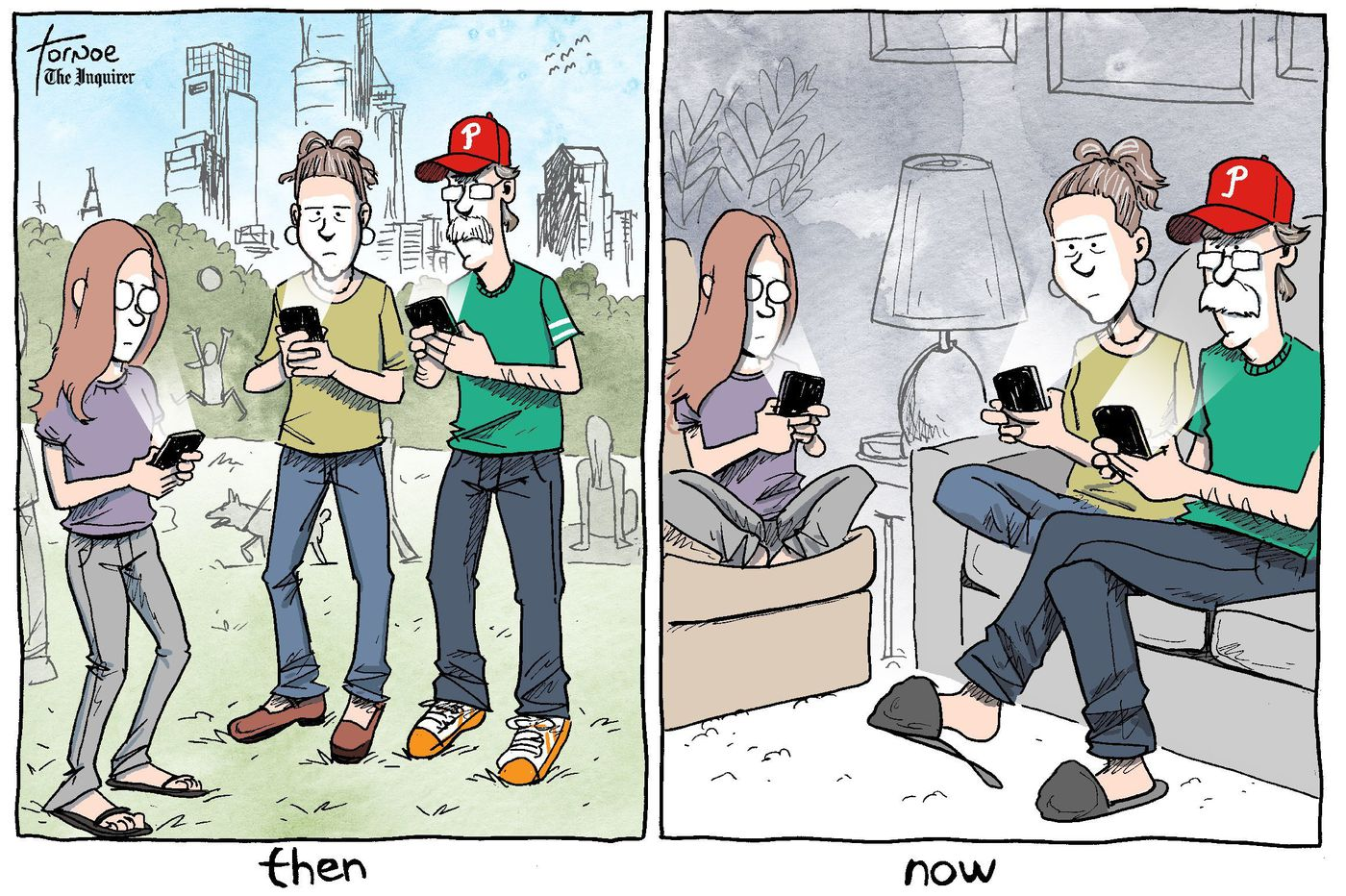 Coronavirus cartoon: We lost the fight against our phones and screens