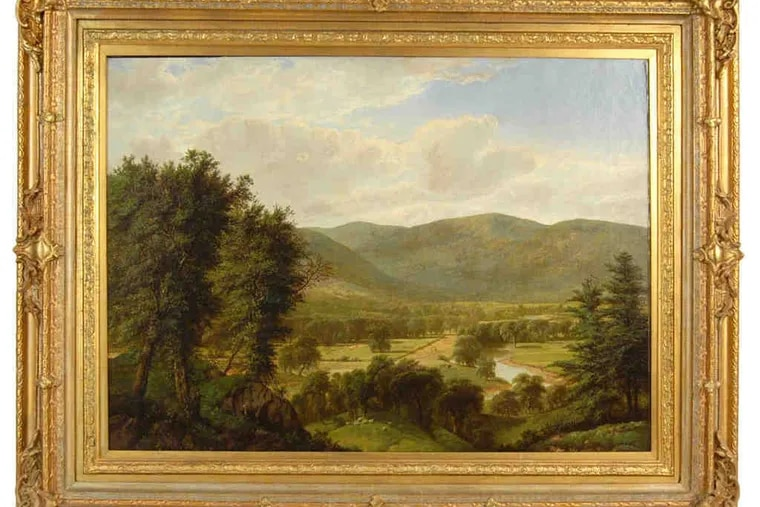 This Hudson River Valley landscape by American painter William Mason Brown, signed by the artist, has a presale estimate of $6,000 to $10,000. It's from a Bucks County consignor.