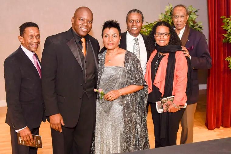 Rickey Laws, Lester Green, Carmen Balthrop, Earl Harvey, Winter Chatman, and Jim Keeler at the 40th-anniversary celebration of Opera North at Arcadia University.