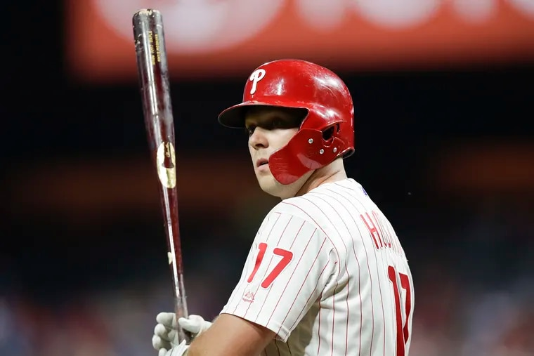 Phillies Rhys Hoskins preparing to bat against the Miami Marlins on Saturday, September 28, 2019 in Philadelphia.