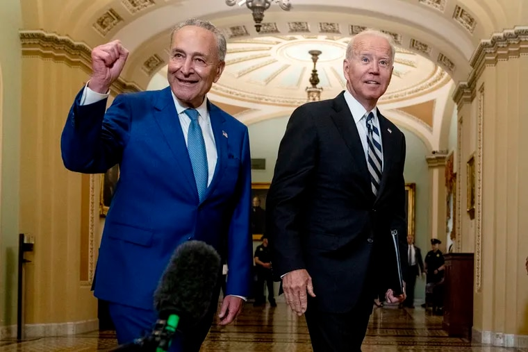 President Joe Biden (right) joins Senate Majority Leader Chuck Schumer (D., N.Y.) and fellow Democrats at the Capitol last week to discuss the latest progress on his infrastructure agenda.