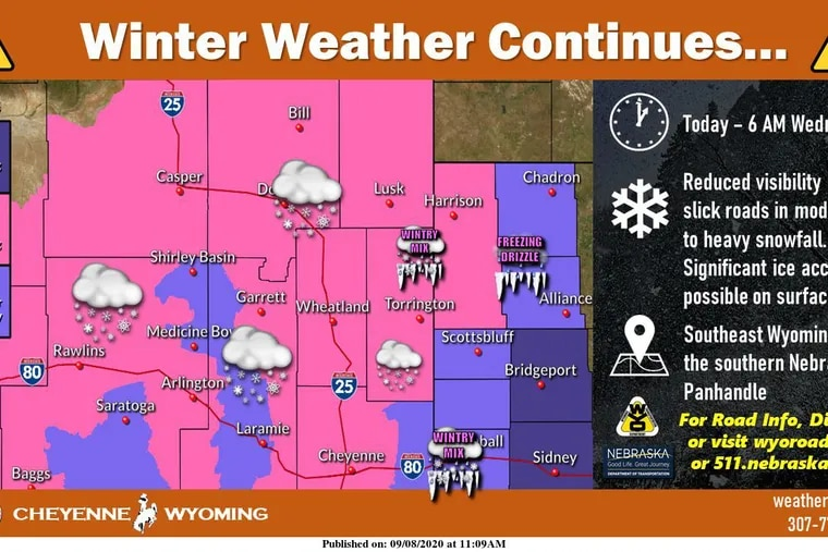 After a hot spell, winter-storm warnings are posted for Wyoming and Nebraska.