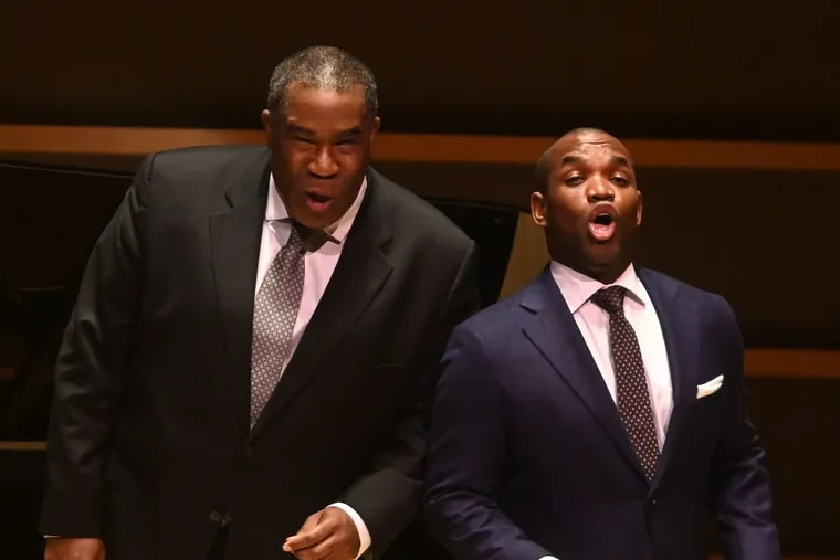 Eric Owens (left) and Lawrence Brownlee performed an unusual two-singer recital Friday night at the Kimmel's Perelman Theater.