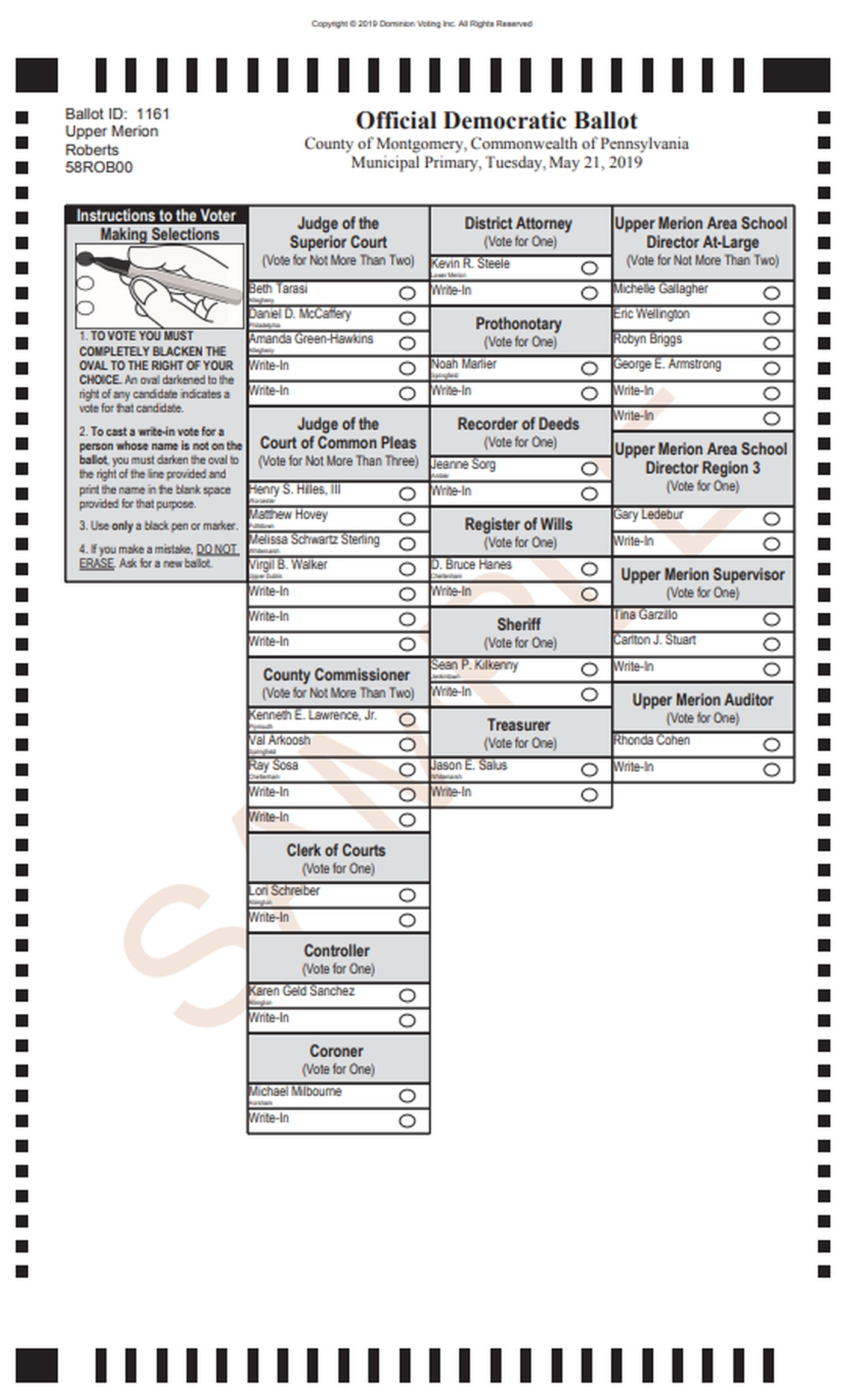 Fourth image of Primary Election Sample Ballot with What Pa. counties can learn from voters' reactions to ...