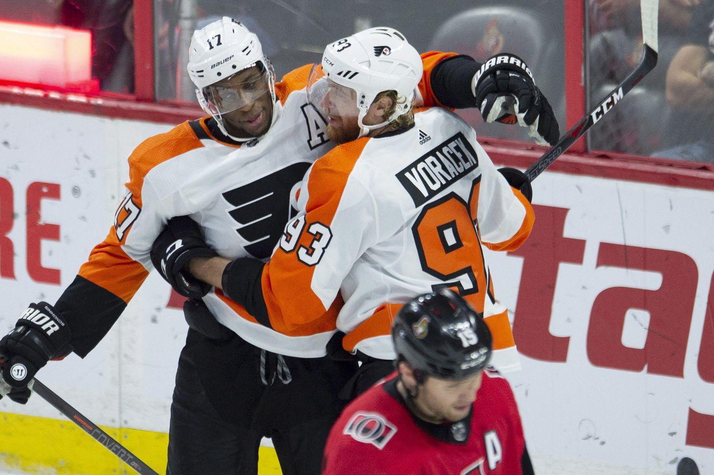 Voracek's 5-point night propels Flyers past Senators